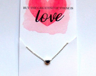 But The Greatest Of These Is Love Necklace Delicate Heart Necklace Dainty Heart Necklace