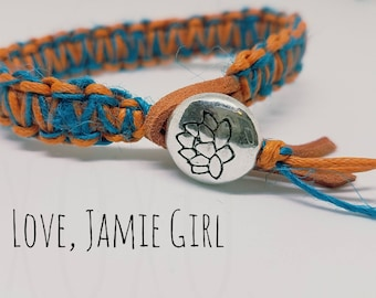Leather and Hemp Knotted Bracelet, Lotus Flower, Leather Bracelet, Hemp Bracelet, Knotted Bracelet, Love Jamie Girl