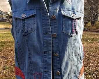 Upcycled Clothing, Blue Jean Vest, Upcycled Vest,