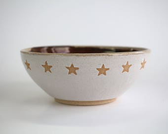 ceramic bowl mint and matt white interior , handmade