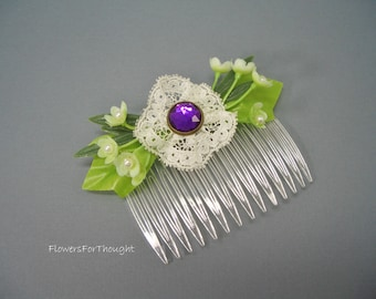 Hair Comb Victorian Style with Lace and Purple Charm