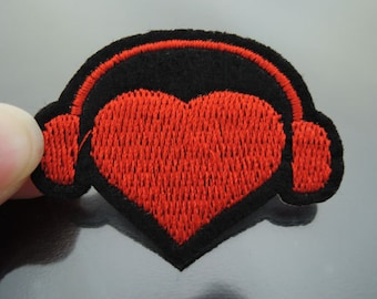 Iron on Patch - Red Headphone with Love Heart Patches Music Iron on Applique embroidered patch Sew On Patch