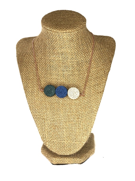 Multi Color Lava Stone Necklace: green, blue, oil diffuser, women, girls, circle, pendant, boho, healing, protection, crystal, zen