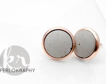 Earrings ~ concrete ~ rose gold | Silver