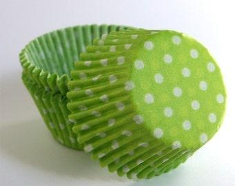 SALE: Lime Green Polka Dot Cupcake Liners (100)