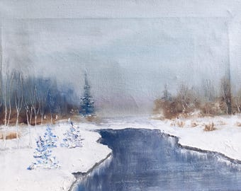 Winter Landscape Oil Painting / oil landscape winter / Original Oil Painting on Canvas