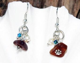 Sea Glass, Earrings, Sea Glass Jewelry, Lake Earrings, Seaglass,  Lake Erie Jewelry, Beach Glass Earrings, Pierced Earrings, Beach Earrings