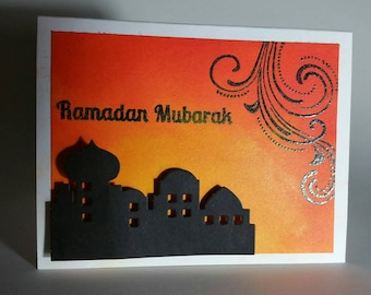 Handmade Handpainted Ramadan Card with Heat embossed Sentiment and 3D Mosque/Masjed