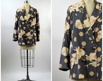 Floral Silk Jacket Made in Italy by Paola Quadretti Size Medium Gray and Black with Orange and Beige Orchids Double Breasted Bound Button
