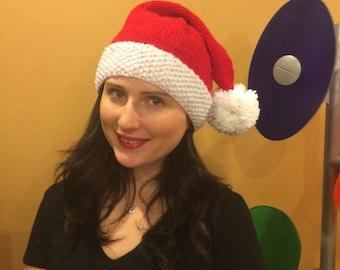 Santa hand knit hat pom pom for all family