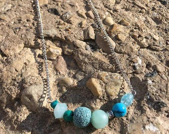 Turquoise Aromatherapy Lava Bead Diffusing Necklace
