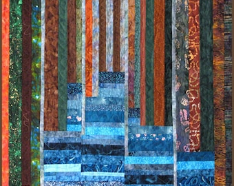 Landscape Art Quilt Wall Hanging Lake  Scene  Patchwork  Limited Edition