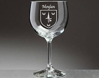 Moylan Irish Coat of Arms Red Wine Glasses - Set of 4 (Sand Etched)