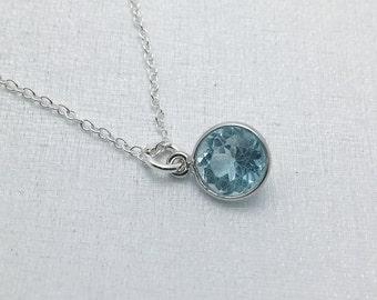 Blue Topaz necklace. single stone necklace. tiny genuine Blue Topaz. sterling silver. December birthstone. girlfriend, Mother's Day