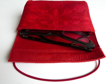 Leather case for pens or glasses (red leather with print)
