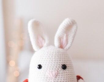 White Bunny . Stuffed Animal Plushie Crochet Amigurumi . Decor . Kids Decor . Kids Toys