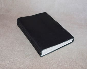 Black leather journal sketchbook, unique notebook A6 travel journal, writing journal