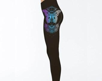 Women's Leggings MOTHLIGHT Mandala Black Sacred Geometry Dotwork Moth Yoga Tights Festival Wear