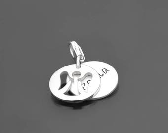 Engraving HIDDEN ANGEL charm 925 Silver Pendant with name guardian angel
