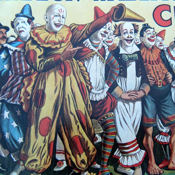 An Army Of Clowns Snarling Leopard Vintage Circus Poster
