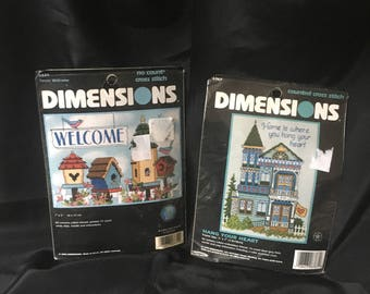 "Pair of Dimensions Counted Cross Stitch Kits, ""Home is where you hang your heart"" 6767 and Welcome 6839 5""x 7"" Open and Complete Kits"