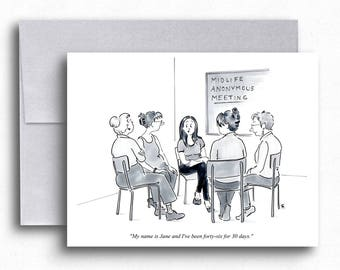 Midlife Crisis Cartoon Greeting Cards Mid Life Crisis Age Women's Support Group Funny Cartoons Card Funny Birthday Cards Gifts for Women