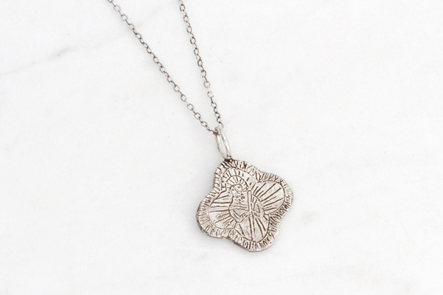 Saint jude silver medallion necklace zoom mozeypictures Gallery