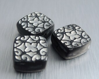 Polymer Clay Square Beads - Black and Cream - Scroll Design - Set of 3