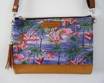 Blue Flamingo Handbag - Tropical Hibiscus Palm Tree Island Clutch Summer Holiday Brown Bag