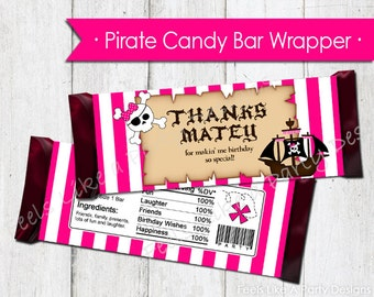 Pink Pirate Candy Bar Wrapper - Instant Download