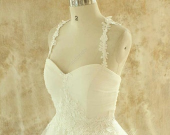 Ivory a line tulle lace wedding dress with lace straps