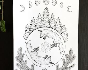 Spruce : original drawing art fox moonphase