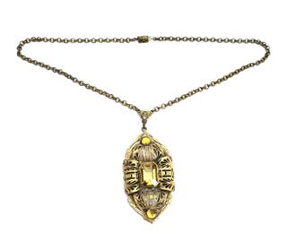 Gorgeous 1920s Art Deco Necklace Yellow  Citrine Faceted Stone Antiqued Gold Filigree Pendant