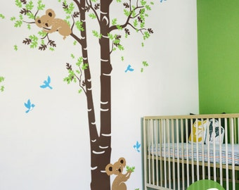 Koala tree wall decal Large tree wall sticker Koala Tree Wall sticker Tree and birds wall sticker Wall Decal for kids room Wall decor -AM008