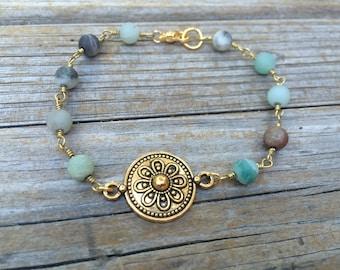 Aventurine Flower Bracelet, Aventurine Rosary Bracelet, beaded bracelet, layering bracelet, stacking bracelet, boho bracelet, Gifts for her