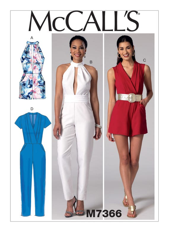 Sewing Pattern Misses\' Pleated Surplice/Plunging-Neckline Rompers ...