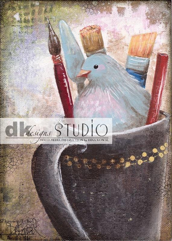 """She Paints -  5""""x 7"""" print - bird in art supplies"""
