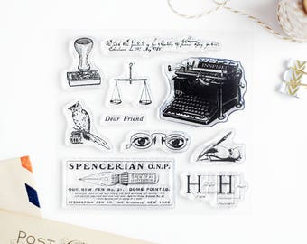 Set of Clear Rubber Stamps - Vintage Writing with Typewriter and Pen for Paper Crafts, Scrapbooking, Art Journaling, Stationery 4x4 in