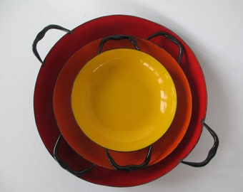 "Vintage Set of Poland Enamel Pans, Red Orange Yellow Nesting Cooking Enamelware, 10"" 8"" 6"""
