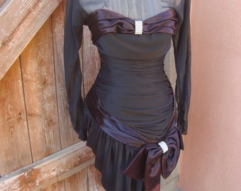 Retro Glam Vintage Eggplant & Black Evening Dress with Bling Size S
