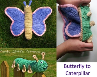 Crochet Pattern -  Caterpillar to Butterfly Metamorphosis (Topsy Turvy Reversible Amigurumi Toy)