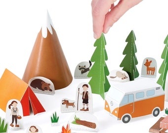 Camping Paper Toy - DIY Paper Craft Kit - Papercraft Kids - Summer Outdoors