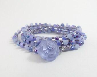 "Periwinkle Beaded Crochet 5x Wrap Bracelet or Long Beaded Necklace ""Periwinkle Rose""  - Item 1544"