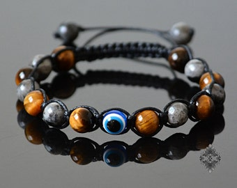 Evil eye jewelry Evil eye bracelet Mens bracelet Beaded bracelet Crystal jewelry Evil eye amulet Labradorite & Tigers Eye Groomsmen Gift