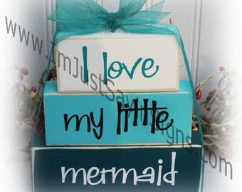 I Love My Little Mermaid Itty Bitty Wood Stacking Blocks