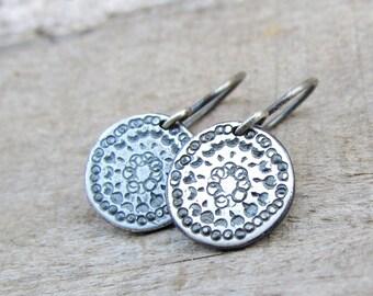 Oxidized Silver Disc Earrings, Sterling Silver Earring, Simple Silver Dangle Earrings, Sterling Silver Earrings Dangle