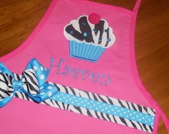 Personalized Zebra Cupcake Apron - Kids Apron - Adult Apron - Hot Pink Apron - Zebra Cupcake Apron - Girl Apron - Mommy and Me Apron