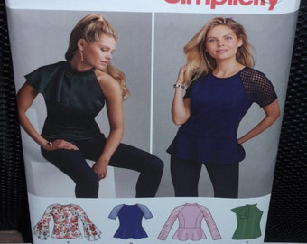 Simplicity 8512 Misses' Shirts with Neckline and Sleeve Variations Size  14 - 22  New- Uncut