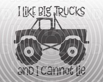 Monster Truck SVG File,I Like Big Trucks SVG,Toddler Boy T-shirt svg -Commercial & Personal Use- Cricut,Silhouette,Cameo,Iron on Vinyl