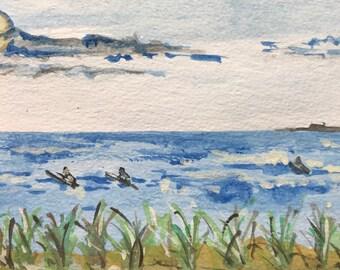 Rockaway Beach Surfer Postcard, Art Card